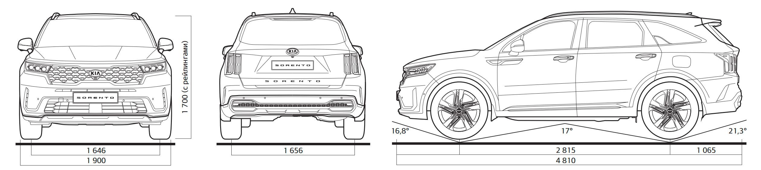 КИА Соренто 2021-2020 технические характеристики, габаритные размеры KIA Sorento 4